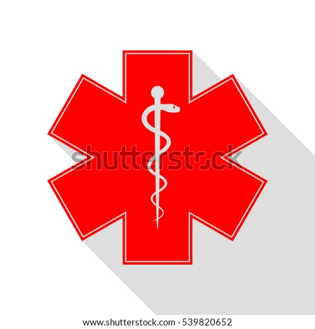 Medical symbol of the Emergency or Star of Life. Red icon with flat style shadow path.