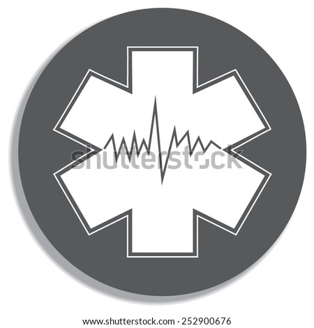 Medical symbol of the Emergency - Star of Life - icon isolated on a grey background - stock vector