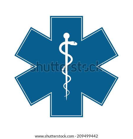 Medical symbol of the Emergency - Star of Life - icon isolated on white background. Vector - stock vector