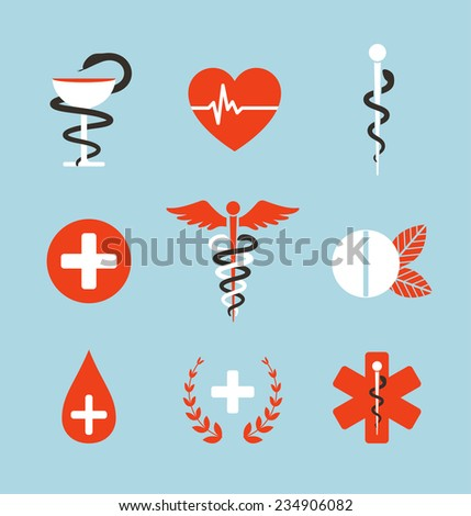 Medical Symbols Emblems and Signs Collection. Set of graphic medicine icons. Caduceus, emergency, bowl with snake. Vector illustration. - stock vector