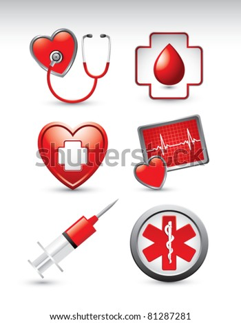 Medical symbols, tools, and icons on white background