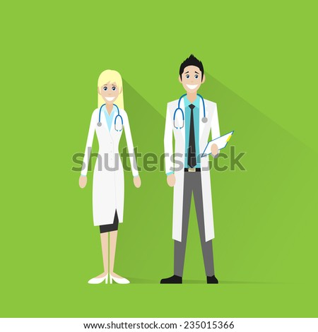 medical team doctor man and woman smile with stethoscope hold folder flat icon vector illustration - stock vector
