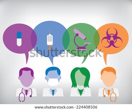 Medical team searching for solution: doctor, nurse, surgeon with speech bubbles and medical icons: biohazard symbol, microscope, syringe and medicine - stock vector