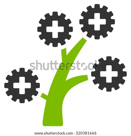 Medical Technology Tree vector icon. Style is bicolor flat symbol, eco green and gray colors, rounded angles, white background. - stock vector