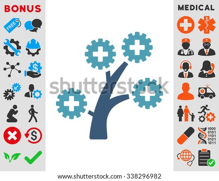 Medical Technology Tree vector icon with bonus. Style is bicolor flat symbol, cyan and blue colors, rounded angles, white background.