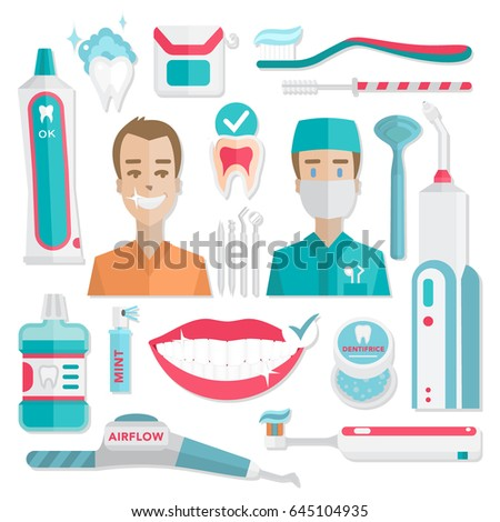 Medical Teeth Hygiene Infographic Dentist And Patient With Tools Instruments Vector Dental Care
