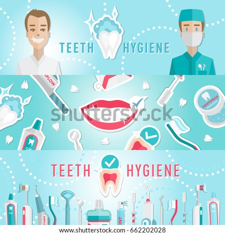 Medical Teeth Hygiene Leaflet And Web Banners Template Design Vector With Tools Equipment Dentist