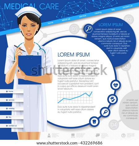Medical template with a nurse girl, round frames and icons. Medical care web design. Vector Illustration - stock vector
