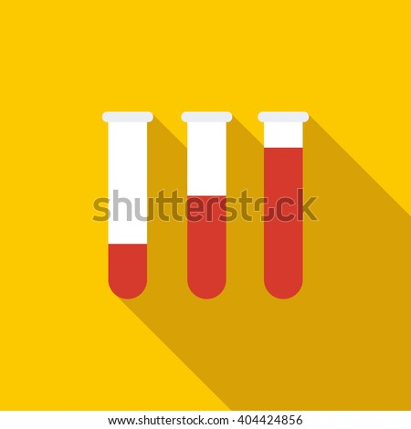 Medical test tubes with blood in holder icon - stock vector