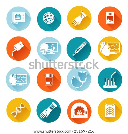 Medical tests health care flat icons set with diagnostics examination isolated vector illustration - stock vector
