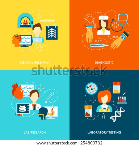 Medical tests health care flat icons set with lab research laboratory diagnostics isolated vector illustration