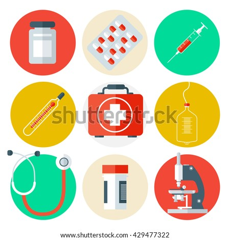 Medical Tools Icons Set. Medical Background with Health Care Stuff. Vector illustration - stock vector