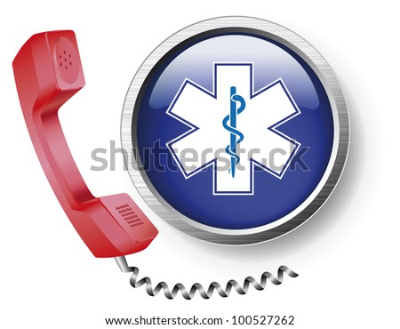 Medical user support by phone. Medical service. A first aid call. - stock vector