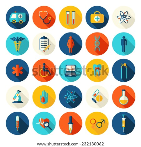 Medical vector colorful flat icons set with shadows - stock vector