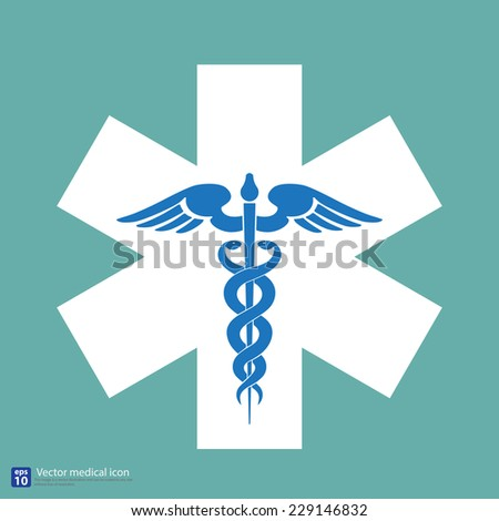 Medical vector icon ,Caduceus sign  - stock vector