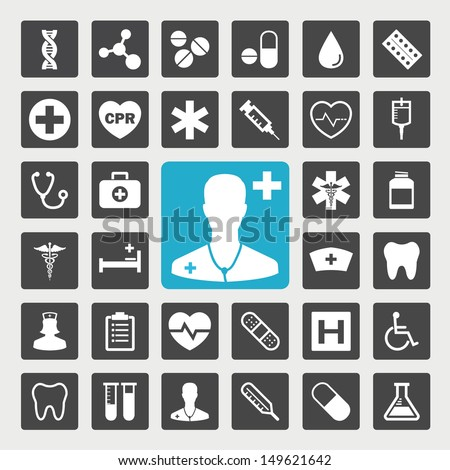 Medical vector icon set - stock vector