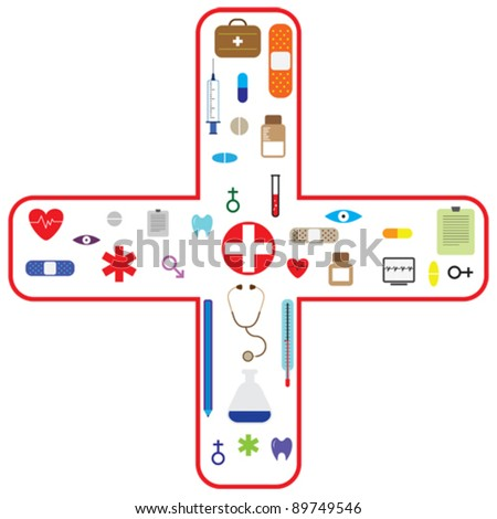 Medical vector icon set for health care and pharmaceutical industry. - stock vector