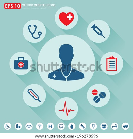Medical vector icon set in blue & red colors - stock vector