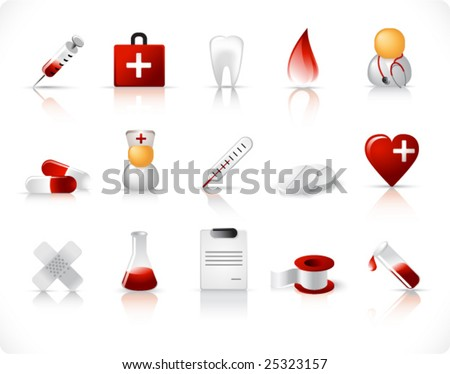 medical vector icons set with reflection and shadow