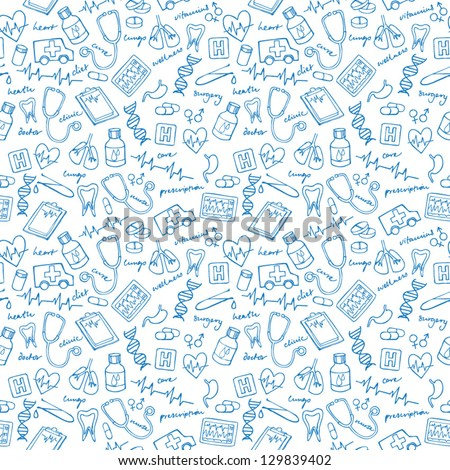 Medical vectors seamless pattern - stock vector