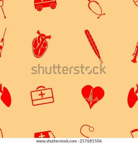 Medical vectors seamless pattern  - stock vector
