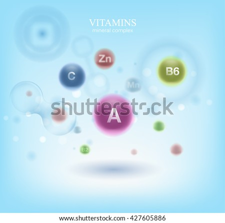Medical vitamins and cell background. Vitamins molecule chemical science. Blue cell background. Life and biology, medicine scientific, bacteria, molecular research DNA. - stock vector