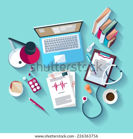 Medical workplace. Flat design. - stock vector