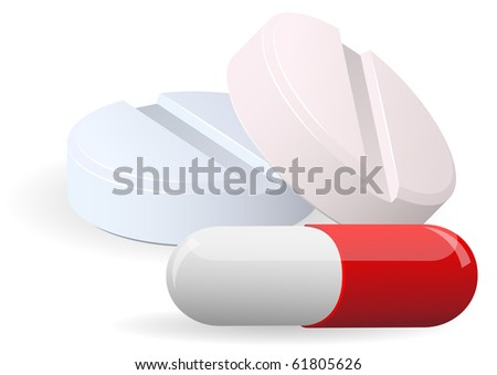 Medicament: two pills and capsulesover on white. Vector. EPS10 - stock vector