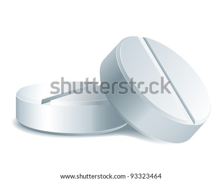 Medicament: two white medical pills. Vector illustration isolated on white background