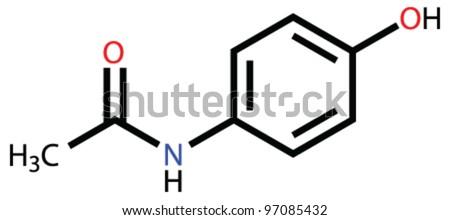 Medication paracetamol (acetaminophen) structural formula - stock vector