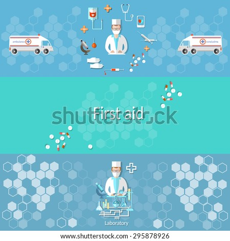 Medicine ambulance pharmacology pharmacist doctor syringes pills medical research cross syringe microscope vector banners - stock vector