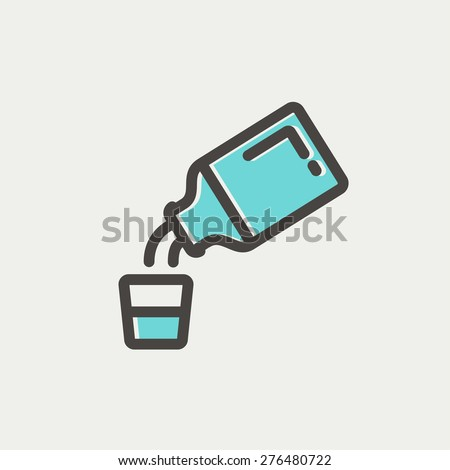 Medicine and measuring cup icon thin line for web and mobile, modern minimalistic flat design. Vector icon with dark grey outline and offset colour on light grey background. - stock vector