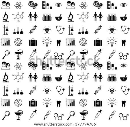 Medicine and science icons. Seamless pattern.