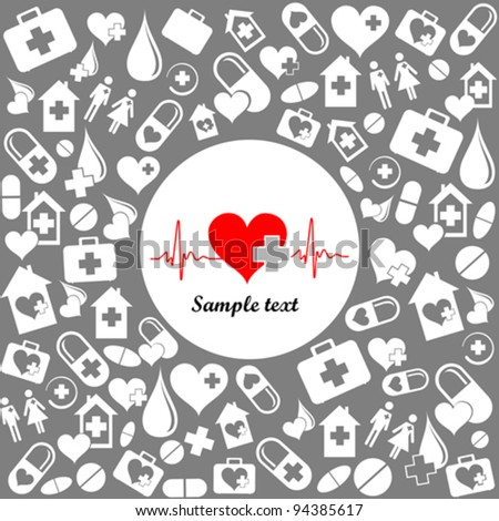 Medicine background  with heart cardiogram  and place for your text. vector illustration - stock vector