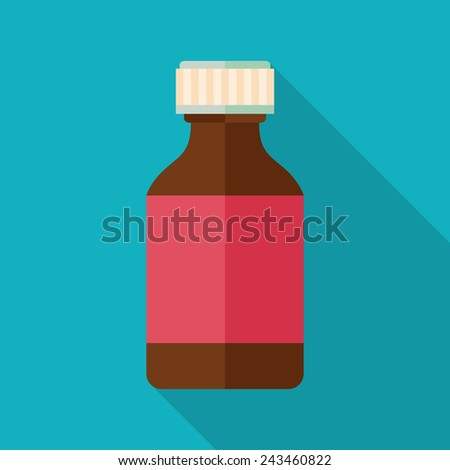 medicine bottle icon with long shadow. flat style vector illustration - stock vector