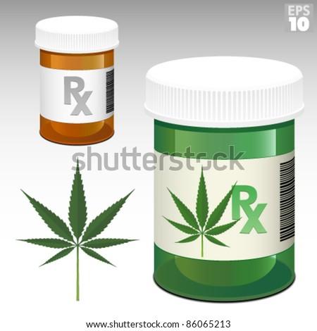 Medicine bottle with Rx symbol and medical marijuana green bottle - stock vector