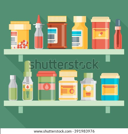Medicine bottles set in flat design. Vector illustration - stock vector
