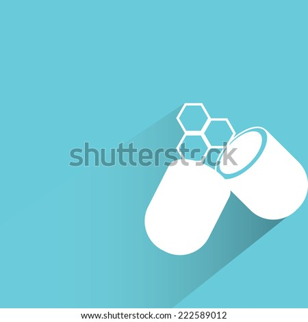 medicine capsule in blue background, flat and shadow design - stock vector