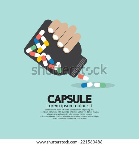 Medicine Capsules Bottle In Hand Vector Illustration - stock vector