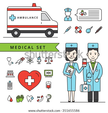 Medicine concept set with ambulance car doctors and  medical equipment icons isolated vector illustration - stock vector
