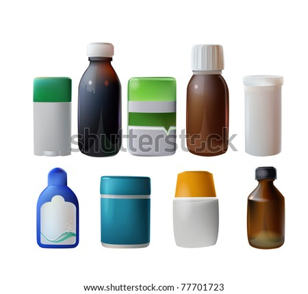 medicine containers - stock vector