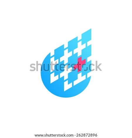 Medicine, diagnostic, science icon. Blue drop with one detected red piece in a shape of red cross. Vector.