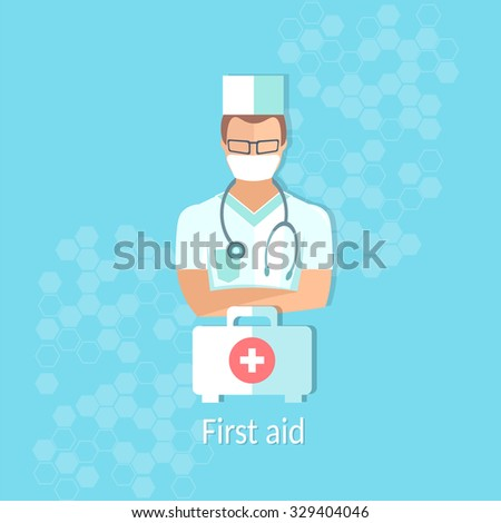 Medicine doctor professional first aid kit healthcare system concept medical background vector illustration - stock vector