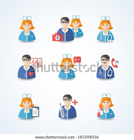 Medicine doctors and nurses icons set for emergency healthcare and hospital isolated vector illustration - stock vector