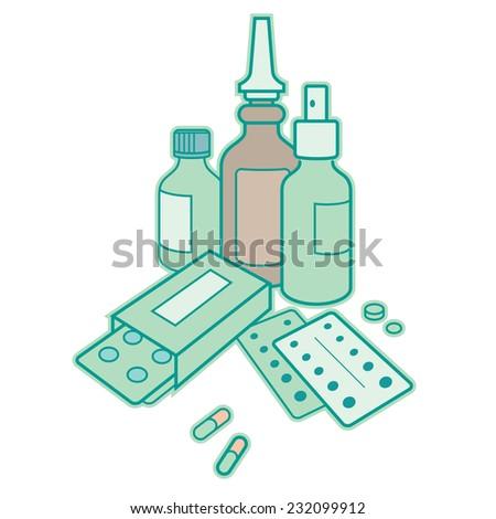 Medicine - drug, pharmacy, cure, pills, antibiotic - stock vector