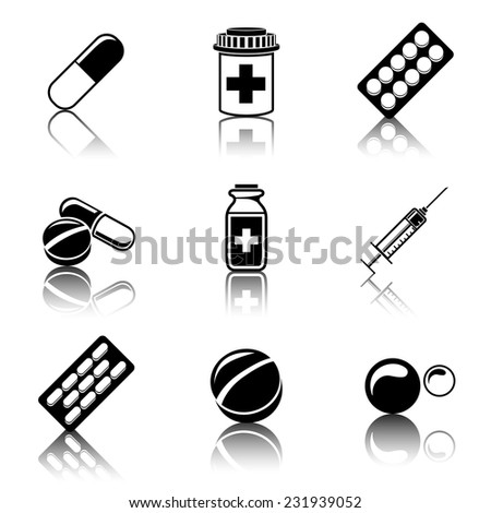 Medicine (drugs) monochrome icons set with reflections - pills box, tablets, pill, blister, vitamins, syringe, liquid medicine. - stock vector