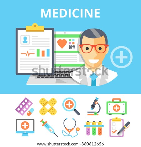 Medicine flat illustration and colorful flat medical icons set. Modern flat design graphic concept for web banners, web sites, printed materials, infographics. Front view. Creative vector illustration - stock vector