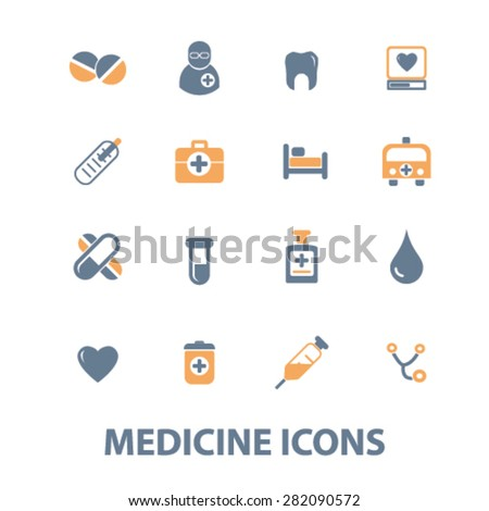 medicine, health care icons, signs, illustrations set, vector - stock vector