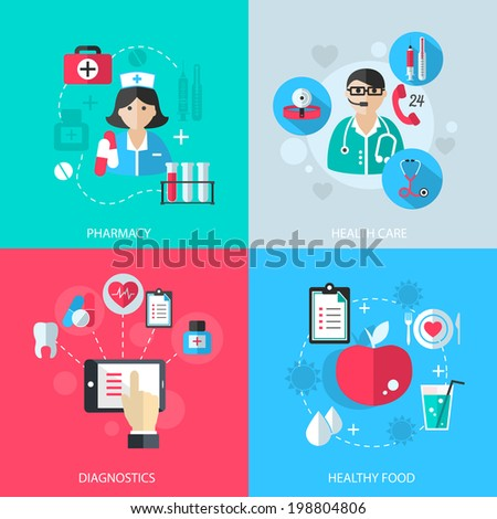 Medicine healthcare services concept flat icons set of medical technology pharmacy diagnostics and healthy nutrition food for infographics design web elements vector illustration - stock vector