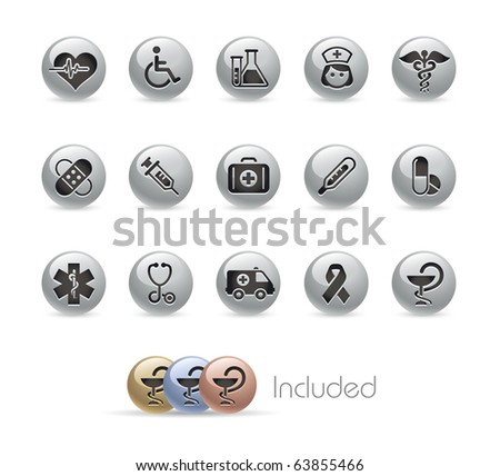 Medicine & Heath Care // Metal Round Series --- It includes 4 color versions for each icon in different layers--- - stock vector